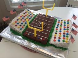 Zelfgemaakte taart voor de Super Bowl