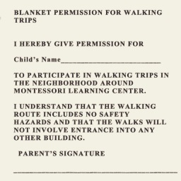 Walking permission voor school?!?
