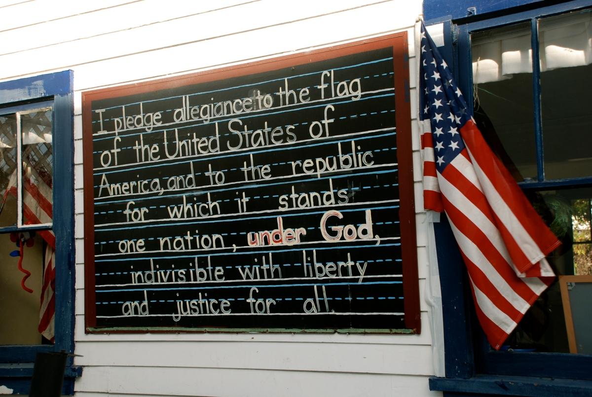 Trouw zweren aan de vlag in het land van vrijheid